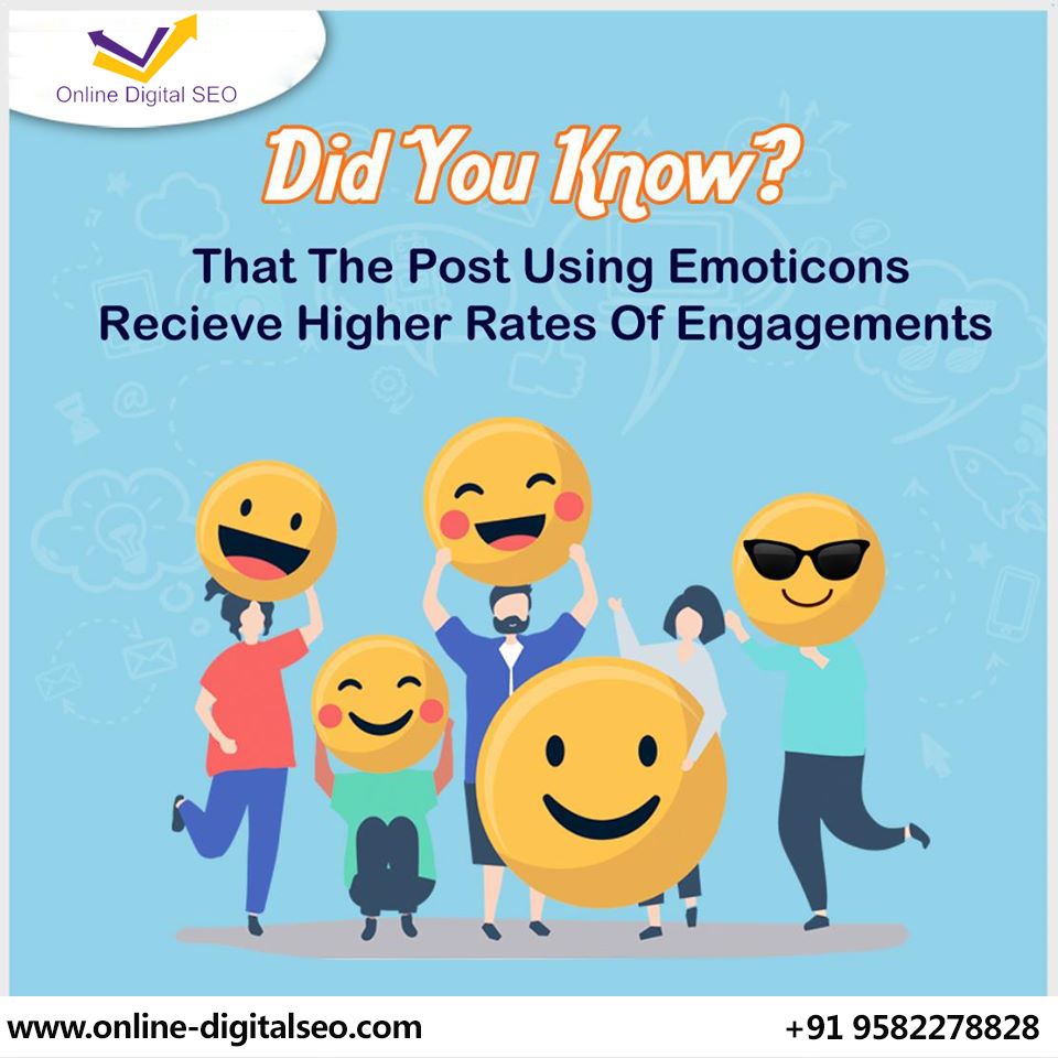 Emoticons attract a high amount of social media engagement. Talk to our expert now  +919582278828 for our social networking services...https://bit.ly/32CQo4k  #onlinedigital #onlinedigitalseo #socialmedia #Emoticons #attract #networking #services #IPL2020 #DelhiHighCourtpic.twitter.com/cEXUkPgl1e