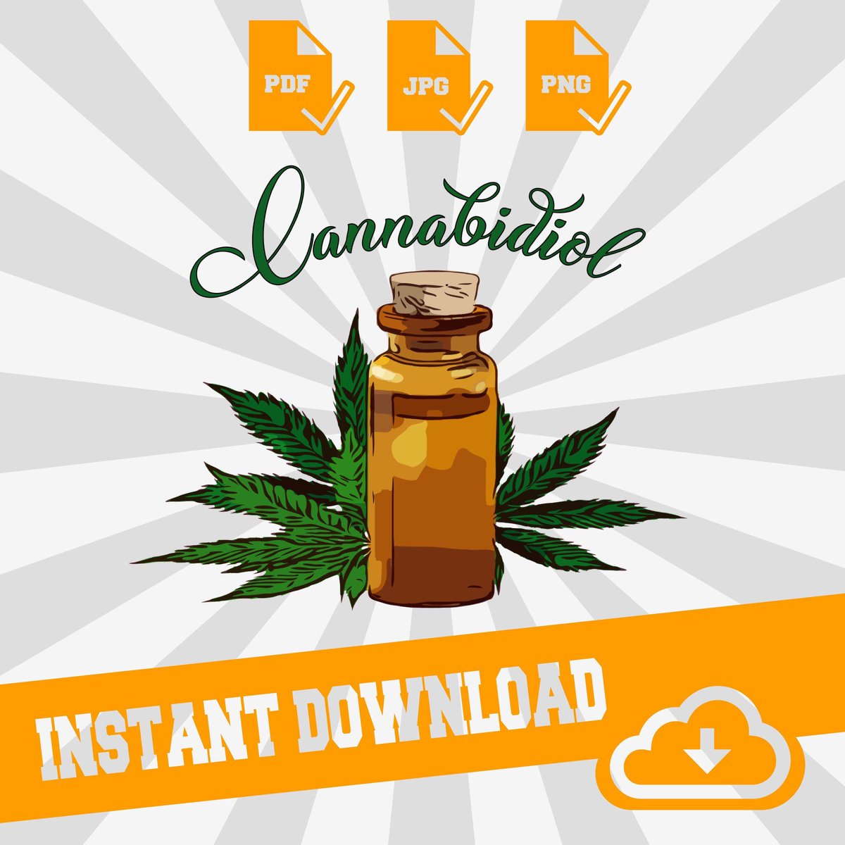 Excited to share this item from my #etsy shop: Cannabidiol - png - pdf- jpg | Instant Download | For T-shirt's - Decals - Sublimation Printing - & Much More #art #print #bestbuds #digital #flowers #hempoil #cbdoils #cbdpets #cannabis  #cbdoil #sublimation