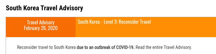 今日、韓国への旅行を再検討するようにアメリカ政府から発表がありました。 今、中国へは旅行しないように言われています。  #アメリカ #コロナウィルス #コロナ