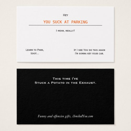 Funny Rude Humor You Suck At Parking Business Card https://www.zazzle.com/funny_rude_humor_you_suck_at_parking_business_card-240840035102169831?utm_source=dlvr.it&utm_medium=twitter… #Funny #humor #HaveAGoodDay pic.twitter.com/pYyYOatP81