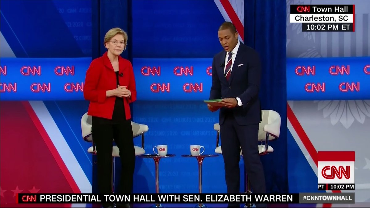 """We need a Justice Department and president who treat white supremacy as the domestic terrorism that it is that threatens this United States every bit as much as terrorism."" - Elizabeth Warren on how she would respond to attacks like the Charleston church shooting #CNNTownHall"