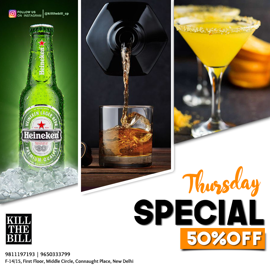 Thursday Special...50% Off  Chota Price, Bada Enjoyment at Kill the Bill.  Book your table now.  Call us: +91-11-40347913 or +91-9650333799  #delhifood #cp #cpdiaries #delhi #delhigram #foodie #Clubbing #party #dance #clubs #music #nightlife #delhinightclubs #bestoffers