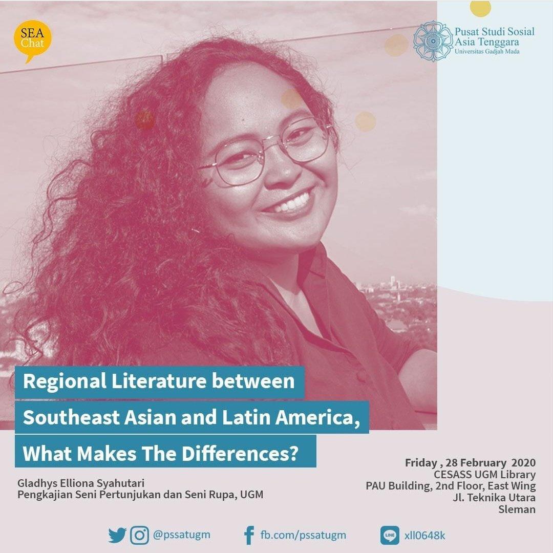 Besok yang Jumat siangnya santai, mari bergabung di SEA Chat @pssatugm, aku akan mengajak teman-teman untuk diskusi mengenai Sastra Asia Tenggara dan Sastra Amerika Latin. pic.twitter.com/Oy7prKAmrG