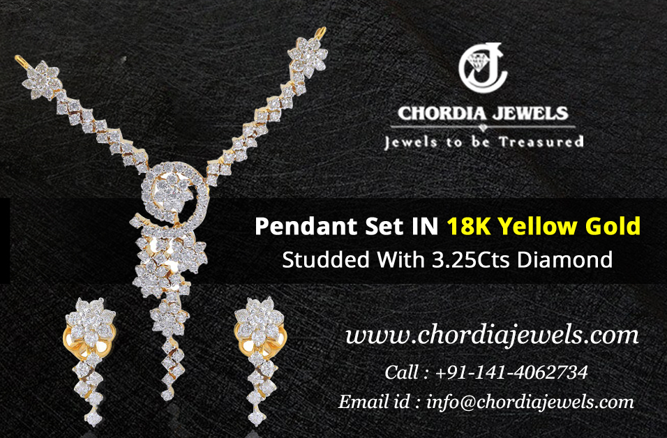 Pendant Set IN 18K Yellow Gold Studded With 3.25Cts Diamond 📲Order Now  📞Call 9829058900 #jewellery #jewels #jewelrydesign #gemstonejewelry #gemstones #gemstones #jewelryaddict #jewelrylover #jewelrymaking #jewelrydesigner #jewelryonetsy #shopping #gems