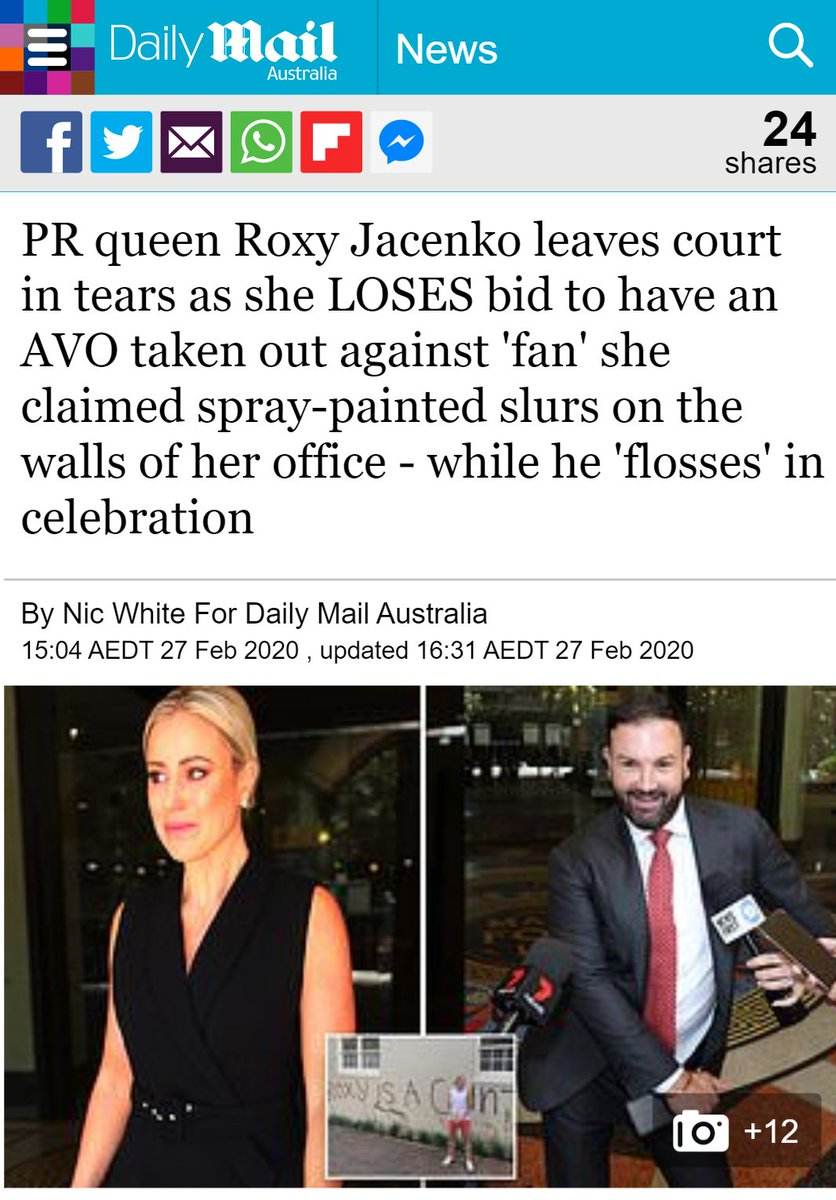 My love-hate relationship w @DailyMailAU is edging towards  today https://www.dailymail.co.uk/news/article-8049927/Roxy-Jacenko-LOSES-court-bid-AVO-against-fan.html…pic.twitter.com/vmHxuCdXTf