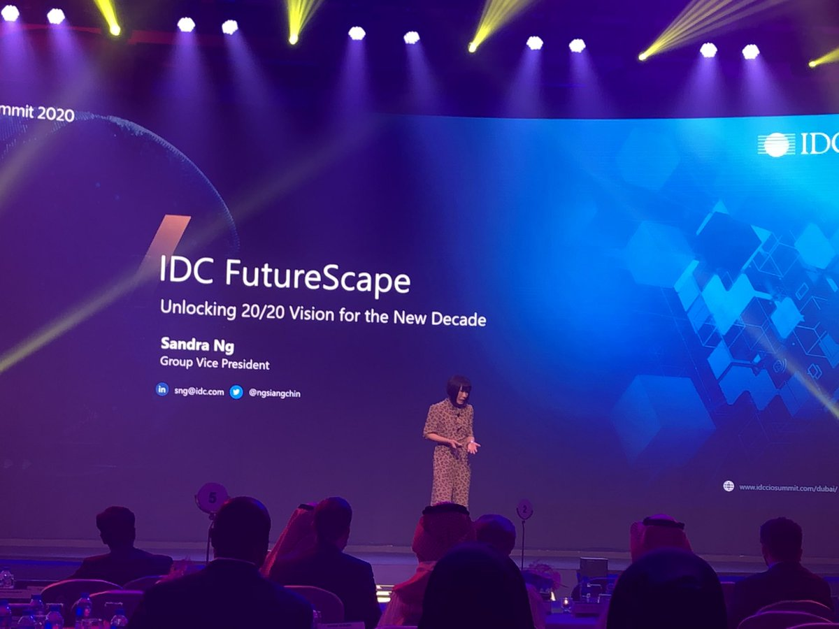 Sandra Ng, GVP at @IDC takes the center stage at #IDCMECIO in #Dubai sharing insights on IDC Futurescape. Region presents some of the new breed of #DigitalDisruptors. @IDCMEA @IDCAP @IDC_SSA #DX #FutureScape #DigitalInnovation #AI #Automation #RPA #IPA