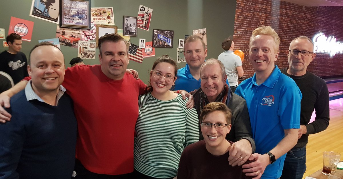 The BLAGSS bowling team 2020. Coming 9th out 24th  of the LGBTQ+  sports teams in #Brighton and #Hove  @OutToSwimWest @OutToSwim @LondonOrca @team_blagss #swimteam #gayswimming #swimming #lgbtcommunity #Lgbtswimming  #gaysports pic.twitter.com/fjFpNMIEDl – at Hollywood Bowl