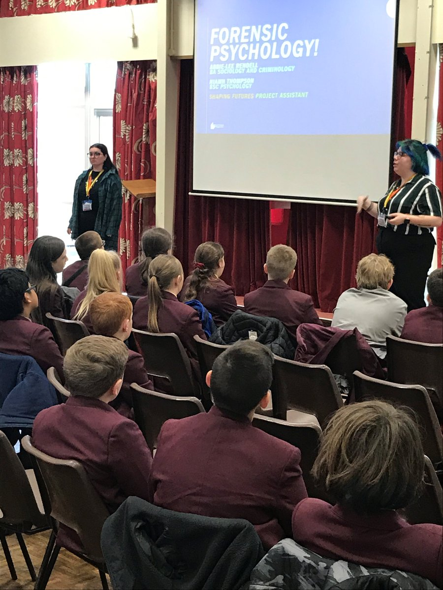 A great presentation by Shaping Futures to year 7 and 8 students who wanted to find out more about studying Psychology and Criminology at University. Lots of interesting questions! We will look forward to the follow up debate session in a couple of weeks.<br>http://pic.twitter.com/cPCwz0nAPc