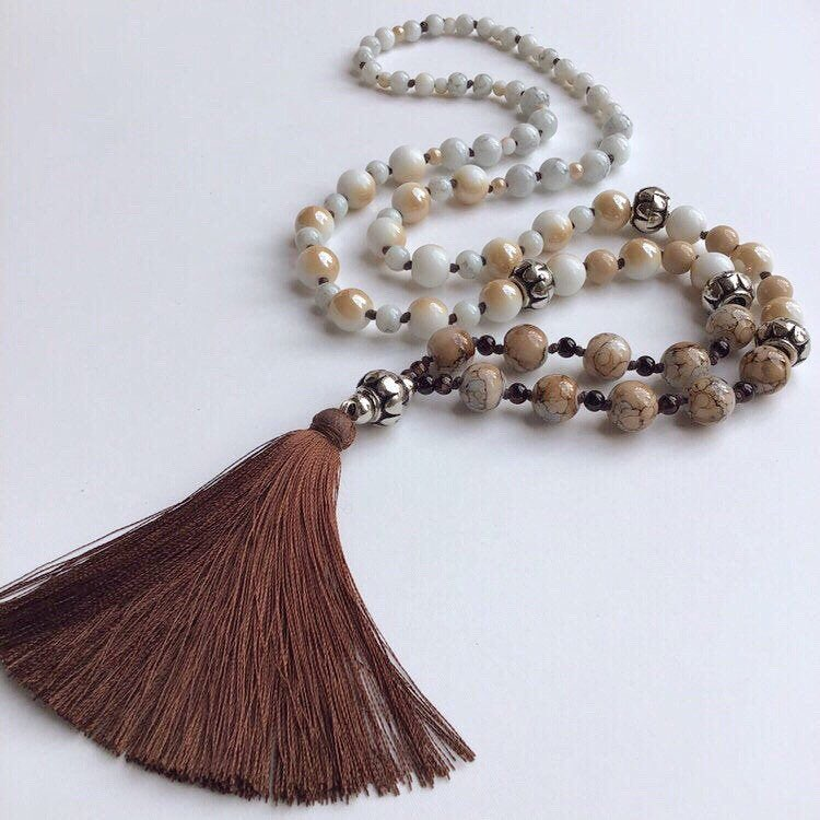 10% OFF from my @Etsy shop: White & Brown Beads, Brown Silk Tassel Boho Necklace for Her, Mala Long Beaded Chain  Necklace, Birthday Yoga Gift: #accessoriesbyairita  #etsy #jewelry #necklace #brown #bead #white #bohohippie #whitetobrown #women