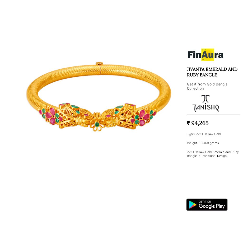 Searching for a valid and strong gift idea that won't go wrong? Check out this beauty that takes your breath away. Set in 22 Kt Gold (18.468 gram). For more details, please checkout our app http://tiny.cc/f_gdp  #goldjewellery #goldjewelry #indianjewellery #tanishq #goldbanglepic.twitter.com/ovl5W1Jfz1