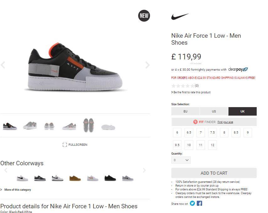 "Nike Air Force 1 TYPE ""Black Red""  FULL RESTOCK at Foot Locker UK  Link > https://bit.ly/32zWpiepic.twitter.com/etdfQxy0oM"