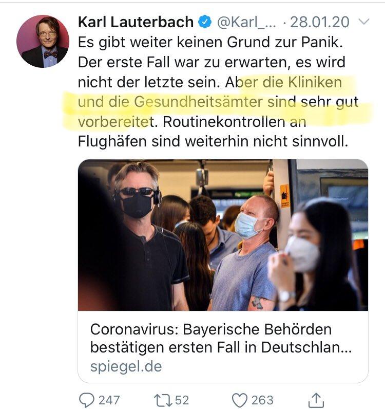 Post Vom Kyffhauser On Twitter Karl Lauterbach Spd Schwerpunkt Gesundheitspolitik Zitiert Am 28 01 20 Und Einen Monat Spater