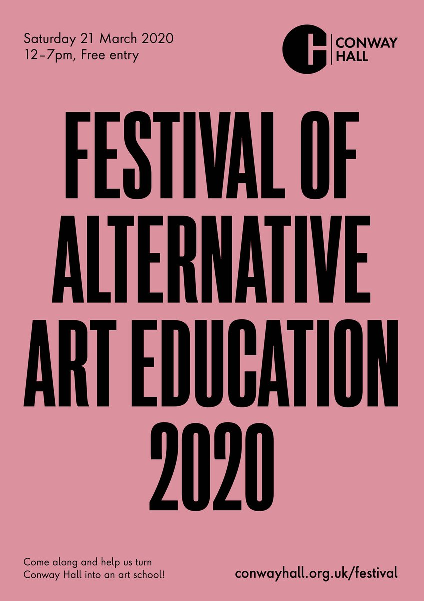 #Festival of #Alternative #Art #Education 2020 Sat, 21 March from 12pm Come along and help us turn @ConwayHall into an #artschool + The Secret is Out: #exhibition + Urgh! #1 #zine on #altarted Please book: conwayhall.org.uk/festival More info: videomole.tv/festival @ARTQUESTLONDON