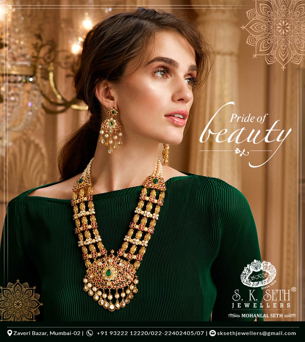 A combination of gold and auspicious colours. A balance of deep details and perfect highlights. Book an appointment today and explore the exclusive collection of BRIDAL jewellery at our office. @SethJewellers #tablecutdiamond #indianjewellery #polkijewellery #polki #Iuxuryjewelspic.twitter.com/6uWZnmwbXp