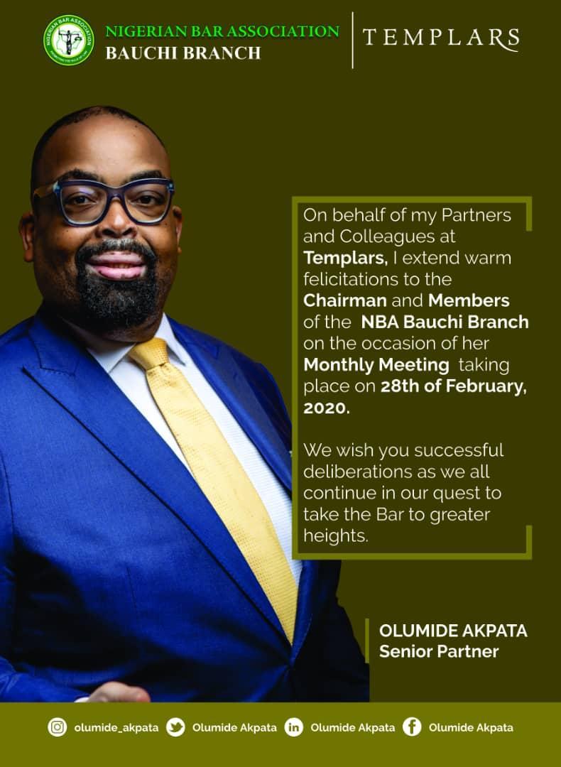 Mr. Olumide Akpata, @olumide_akpata, sends his warm wishes to the Chairman, leaders, and members of the NBA Bauchi Branch.#GetInvolved #OlumideAkpata #IAmWithOluAkpata #TeamOluAkpata #TransformationalLeadership