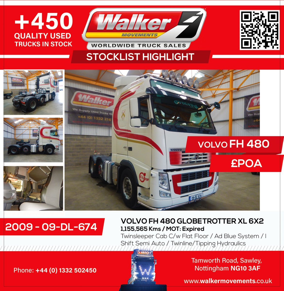 New In Stocklist For Sale: £POA VOLVO FH 480 GLOBETROTTER XL 6X2 TRACTOR UNIT - 2009 - 09-DL-674 Semi-Automatic / Twinsleeper Cab C/w Flat Floor / EU-4 Ad Blue System / Gearbox Driven Twinline/Tipping Hydraulics C/w Chassis Mounted Aluminium Oil Tank And In Cab Controls pic.twitter.com/1vgalDQXbV