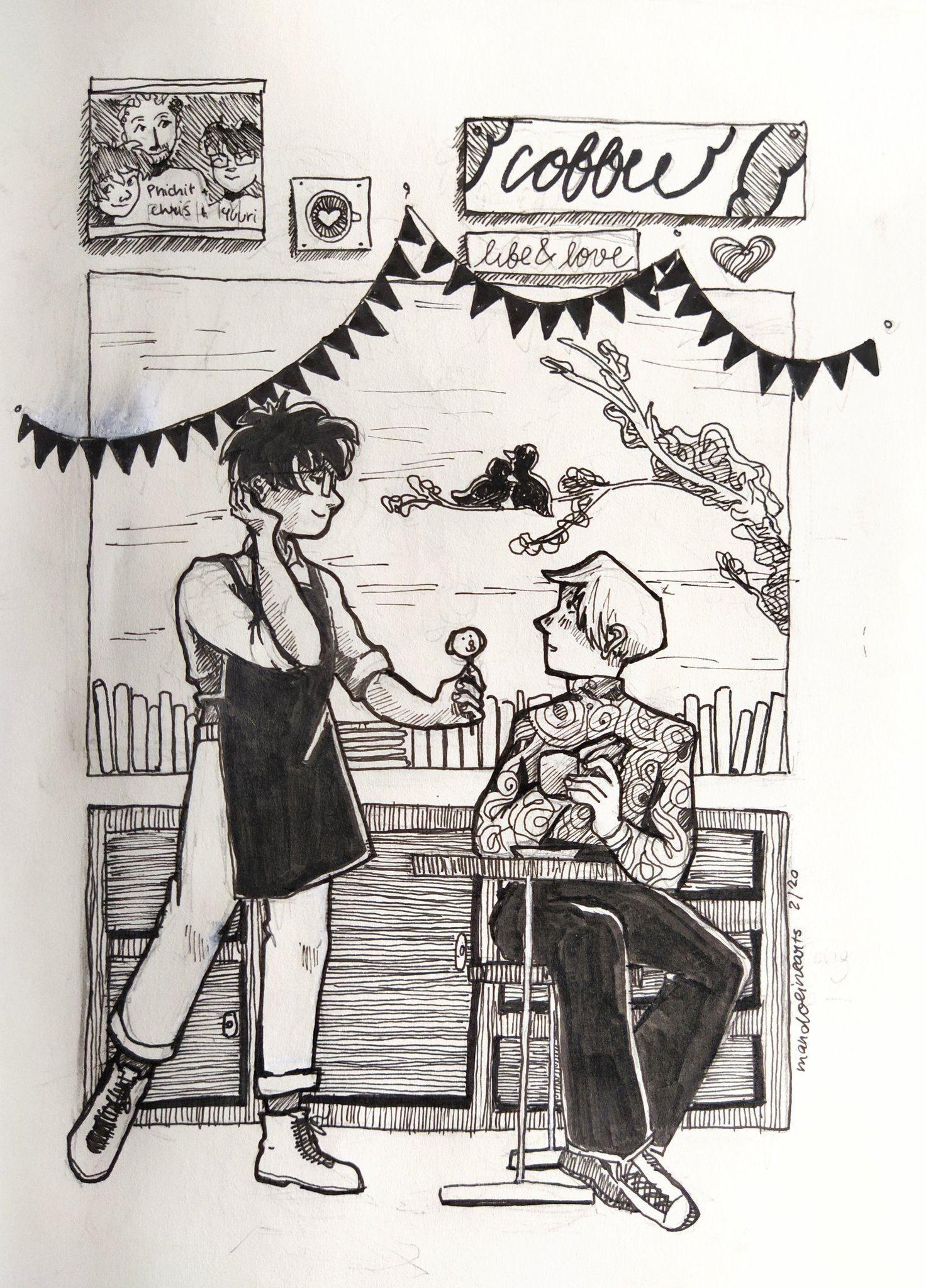 Viktor and Yuuri in the cafe, by mandolinearts@twitter