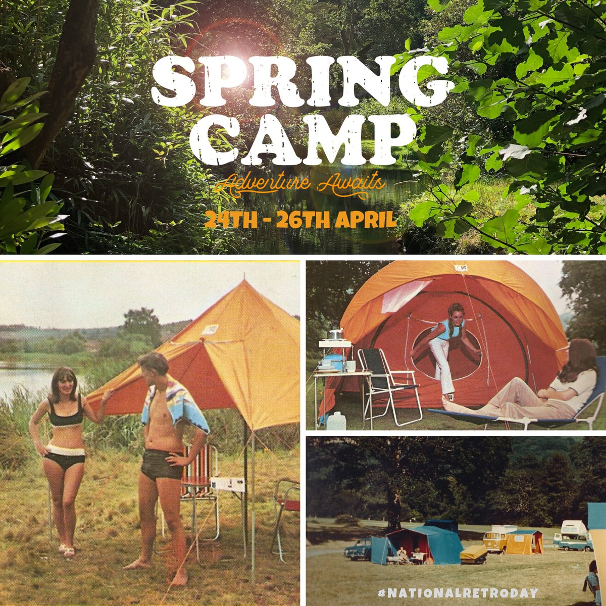 Its #NationalRetroDay! The perfect opportunity to get your Spring Camp tickets. Adventure awaits... Spring Camp, 24 - 26 April 2020 🏕 Tickets >>> bristolvolksfest.co.uk/spring-camp