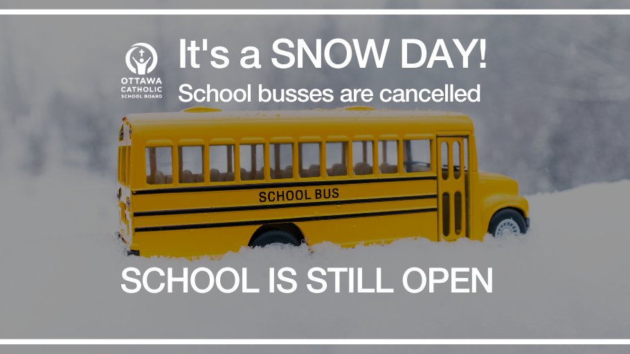 Today is a #SnowDay. @OttSchoolBus has cancelled all buses & vans. All #ocsb schools remain open. If parents send their children to school, they will be responsible for transportation to and from school.<br>http://pic.twitter.com/igUjWzWoel
