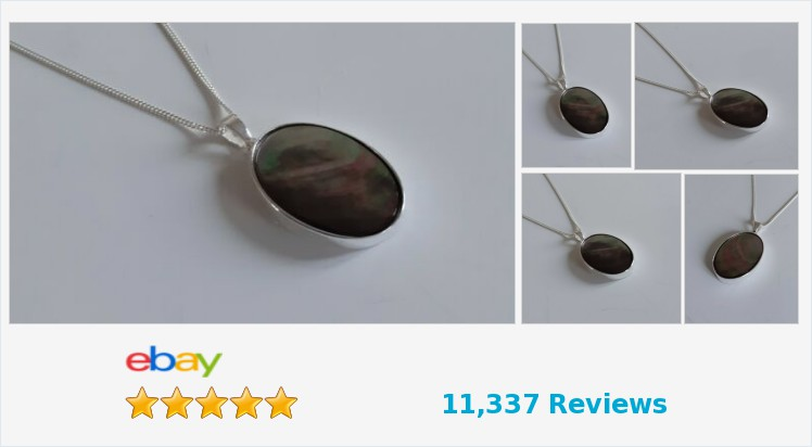 New 925 Sterling Silver Plain 25 x 18mm Black Lip Mother of Pearl Necklace | eBay #sterlingsilver #BlackLipMotherOfPearl #black #pearl #oversized #large #pendant #necklace #handmade #gifts #giftideas #jewellery #giftsforher #beauty #pretty #jewelry
