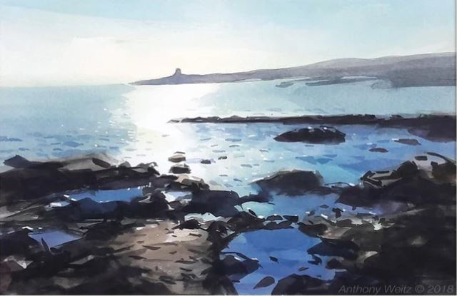 Don't you love days like this when you could just sit and soak up the sun? A watercolour painting of a scene by the coast road painted en plein air, by Anthony Weitz.   Info:   #watercolourpainting #Malta #sun #love #simplepleasures #scenicart #landscape
