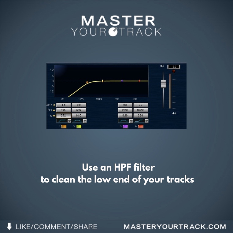 MIXING TIP: Use an HPF filter to clean the low end of your tracks. ---  http://www. masteryourtrack.com     --- #masteryourtrack #mixing #mixingtips #audioengineer #audioengineers #soundengineer #soundengineers #logic #protools #ableton #musictips #producertips #producertutorial #daw<br>http://pic.twitter.com/G59fcOabYU