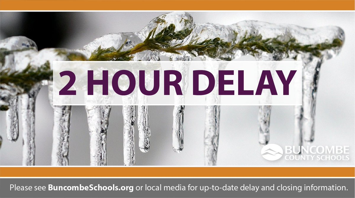 All Buncombe County Schools will operate on a two-hour delay for students on Thursday, February 27, 2020, due to overnight precipitation and well-below freezing temperatures.  @WLOS_13 @asheville @WVLTribune @theavltoday @BlkMtnNews #Asheville #Buncombe