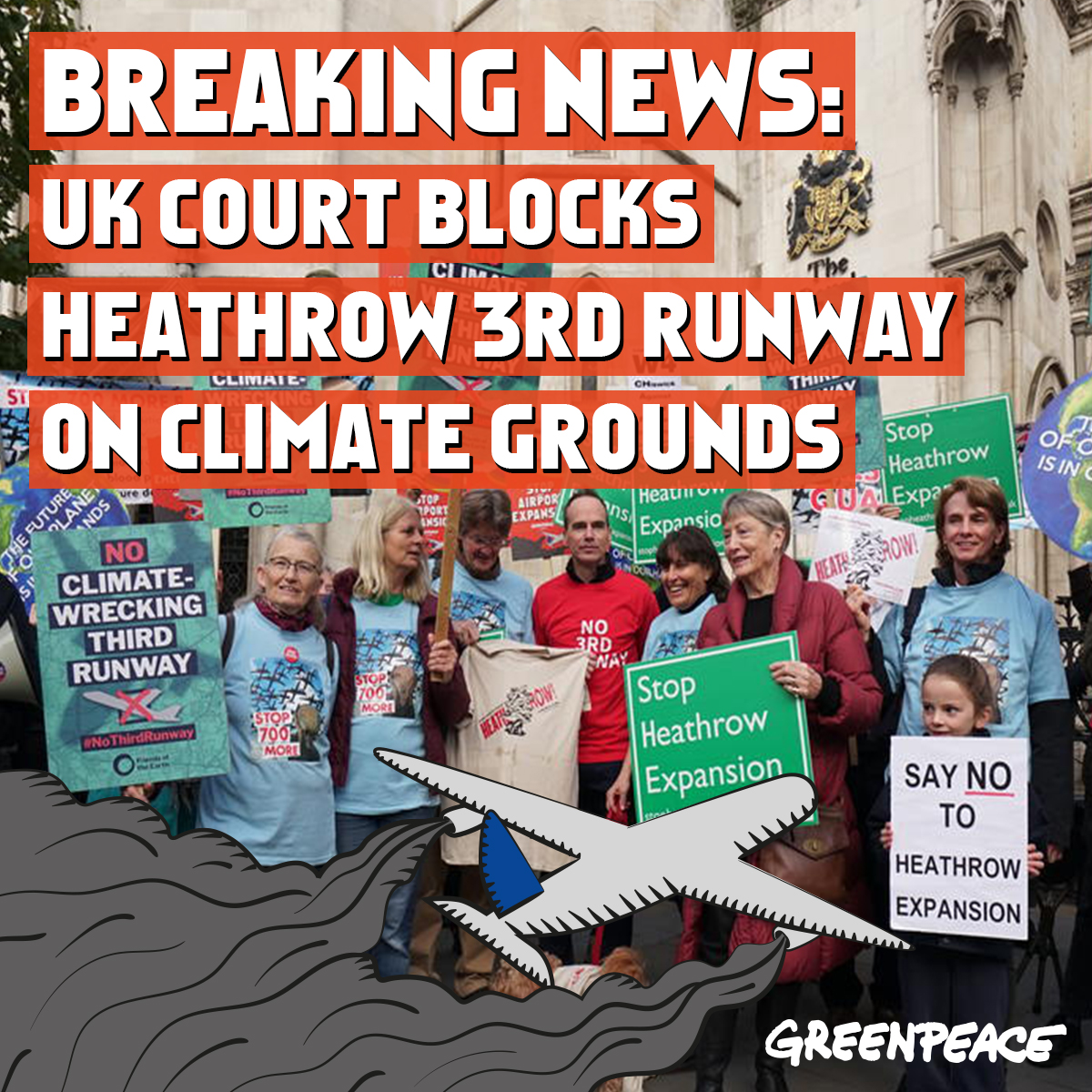 BREAKING - Heathrow third runway ruled illegal over climate change  Plans for a third runway at Heathrow have been ruled illegal by the court of appeal because ministers did not adequately take into account the government's climate change commitments.   https://www. theguardian.com/environment/20 20/feb/27/heathrow-third-runway-ruled-illegal-over-climate-change?CMP=share_btn_tw  … <br>http://pic.twitter.com/hg5eIVDqtF