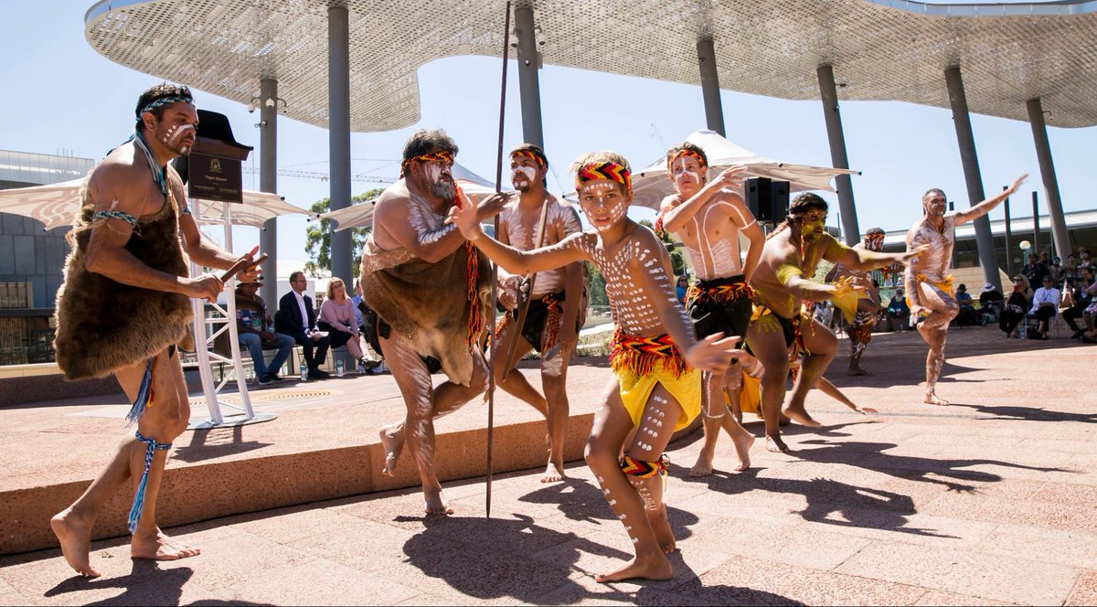 """Nyumbi"" means celebration dance in the Nyoongar language. Immerse yourself in the world's oldest living culture through music and dance every Friday evening until June at #YaganSquare! 🖤💛❤️ https://t.co/aBykWV6Vcd https://t.co/qO9WkVzCbe"