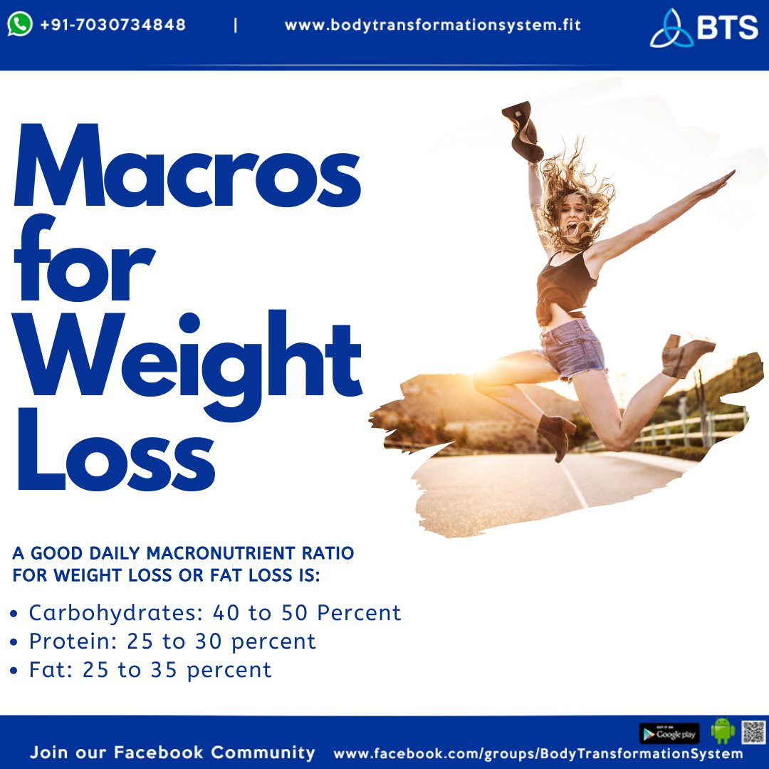 Here's a guide to macros for weight loss!  Join our Facebook community: http://facebook.com/groups/BodyTransformationSystem …  Check the website: http://www.bodytransformationsystem.fit   #dailydiet #dietplan #exercise #fattofit #diettips #fitnesstips #workouttips #healthyhabits #macros #crushyourgoals #getfitwithBTSpic.twitter.com/GUZEJ9MPzY