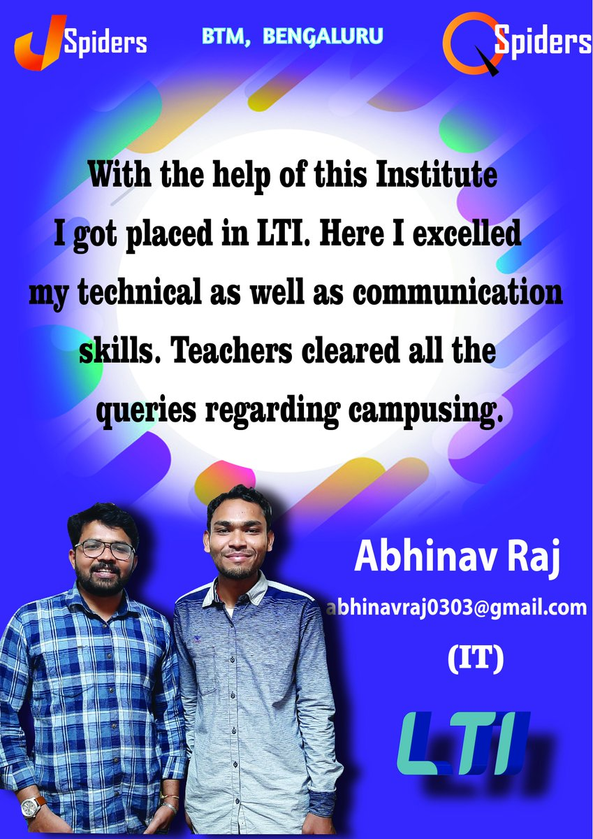 """#Jspiders Training and Development Center #Placement_details #Congratulations@Abhinav Raj got placed to """"LTI"""". #Qualification :BTech #Aggregate :66.3 #YOP : 2019 #Stream:Information Technology pic.twitter.com/0X9IqzmsLC"""