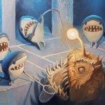 「ミニオン!?いや、サメか!」油絵で描いたサメミニオンが可愛すぎる