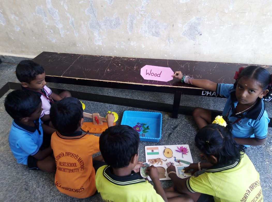 Our curious Class 1 students of Isha Vidhya Dharmapuri have a lesson on 'Material Around Us'. To teach this activity our teachers took them around the school to explore and identify different types of materials that we come across in our day-to-day lives.