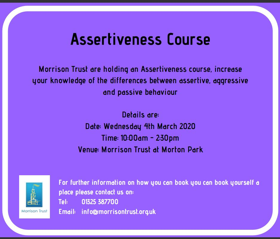 Want to learn how to get your point across and be assertive at work and at home? Sign up for our free course which starts next week. Call 01325 387700  #assertive #skills #work #train 👍