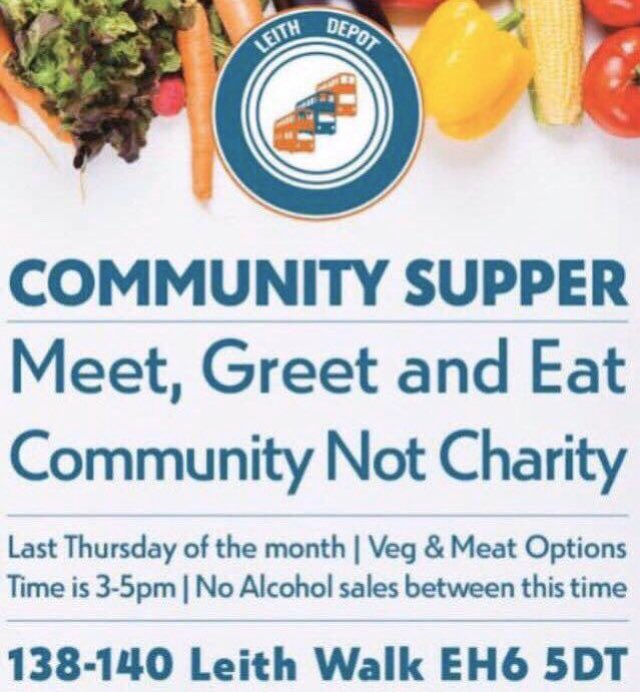 @leithdepot #community  #supper, TODAY Thursday 27th  February (3-5pm) We'll be serving some #free #food (#vegetarian/#vegan inclusive) Same as last time, free food, tea & coffee; no alcohol sales during this time #leith #edinburgh #communitynotcharity