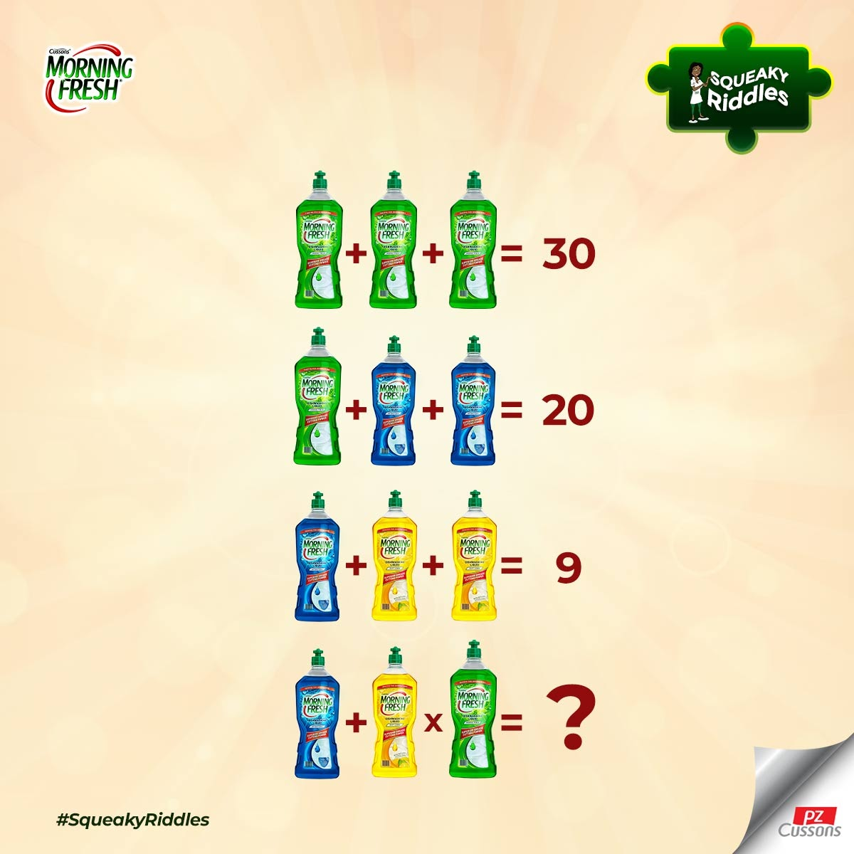 What is the answer?  #SqueakyRiddles #MorningFresh #dishwashingliquid #dishwashing #brainteasers