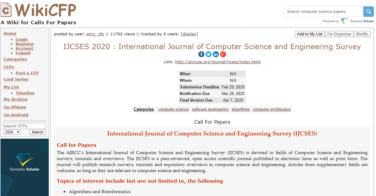 International Journal of Computer Science and Engineering Survey #computerscience #informationtechnology  http://airccse.org/journal/ijcses/index.html…  wikicfp Link: http://www.wikicfp.com/cfp/servlet/event.showcfp?eventid=87216&copyownerid=33993…pic.twitter.com/xWBS8W1eVi