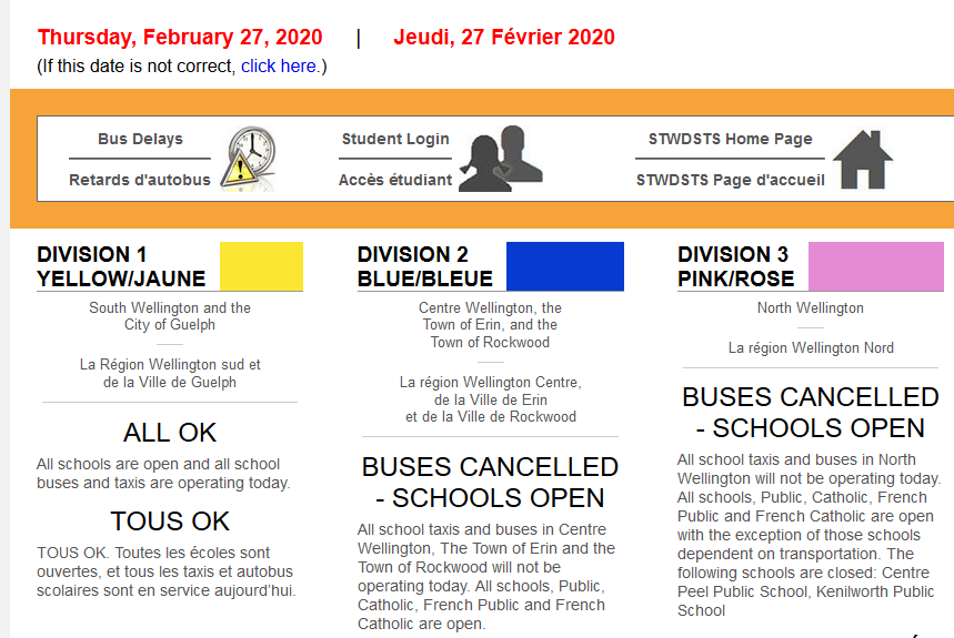 Please note the following bus cancellations for Wellington Catholic DSB schools for Thurs. Feb. 27 - Division 2 (Blue) and Division 3 (Pink). SCHOOLS ARE OPEN. <br>http://pic.twitter.com/3U7B0nq7vH