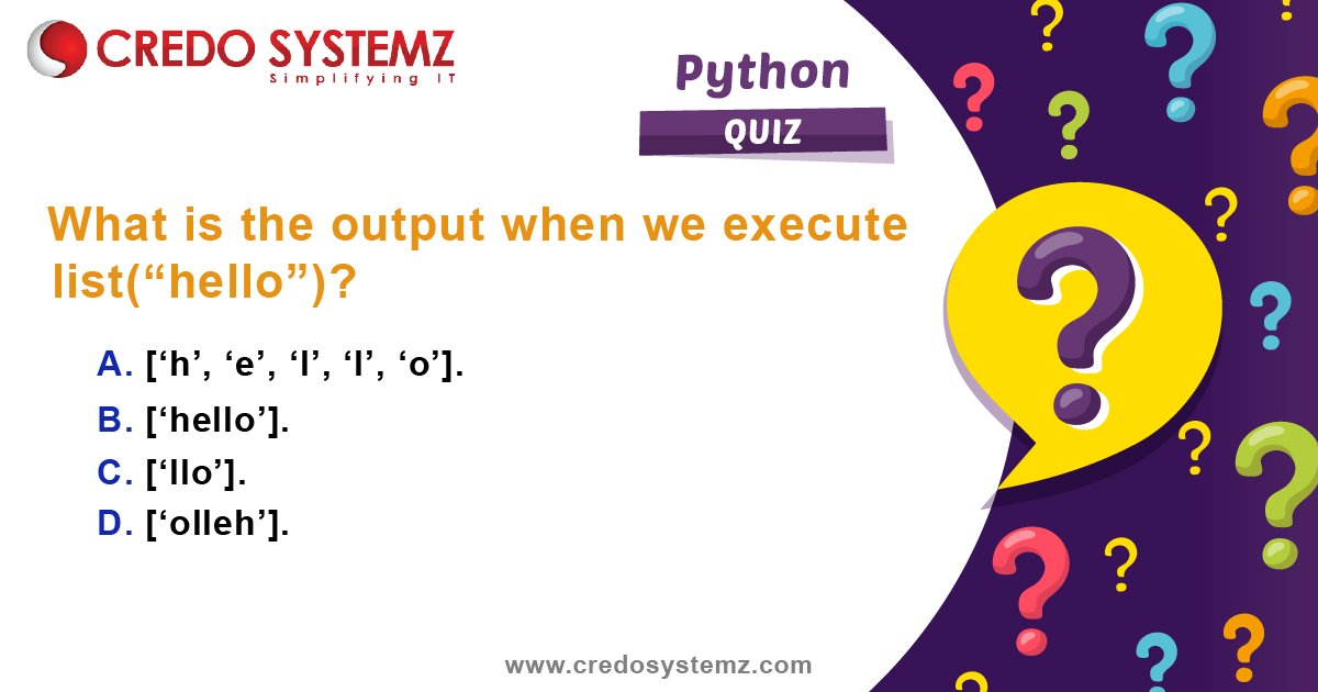 Quiz!! Python Programming!  Transition into one of the highest paying roles in information technology without quitting your job. Expert in Python and Machine Learning with Credo Systemz. Upskill yourself now.  #Quiz #PythonQuiz #Programming  #QuizTime #Training  #CredoSystemzpic.twitter.com/azgmKXU5Q3