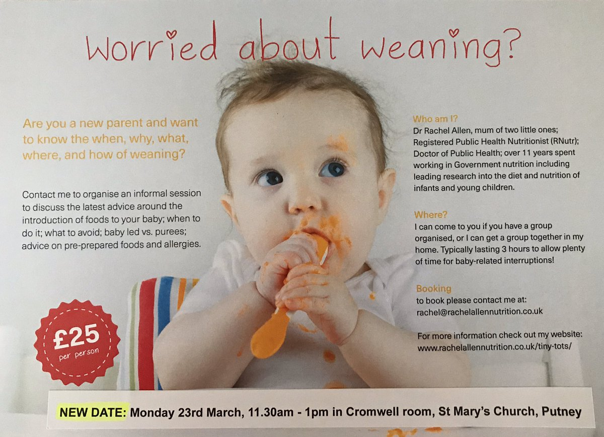 New date and location for my weaning workshop @StMarysPutney  Monday 23rd March. #weaning #sw15 #newmums #newparents pic.twitter.com/R53crvZQjL