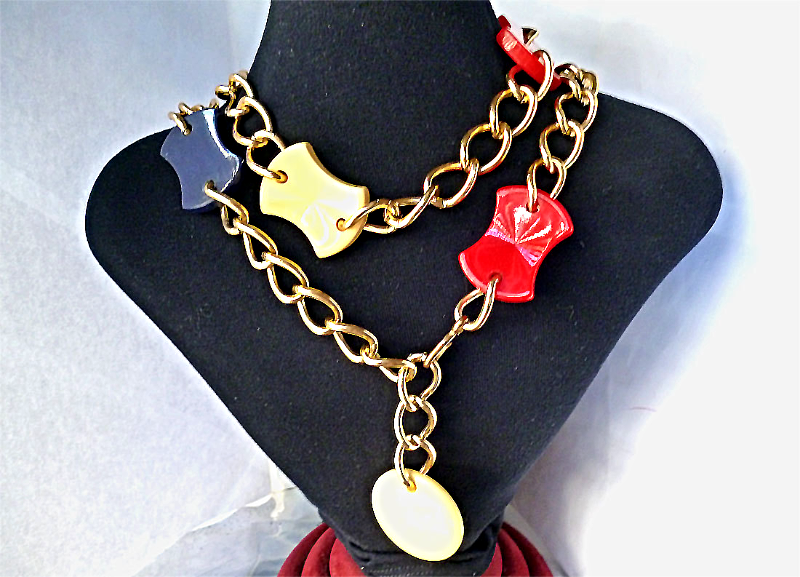 #Vintage #Bakelite Red Blue Yellow Carved Belt Chain #Necklace 1950s