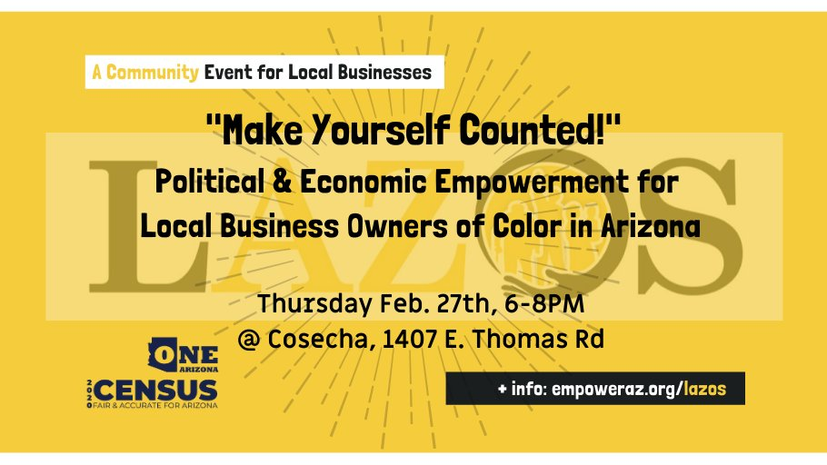 It's TODAY! Doors open at 5:30 pm at Cosecha Collective for Healing at 1407 E Thomas Road in Phoenix. Business owners and community members welcome! DM with any questions! See you at the LAZOS launch!   #localbusiness #smallbusiness #lazos #empoweraz #luchaaz #phoenix #arizonapic.twitter.com/YbEnc9UfZZ