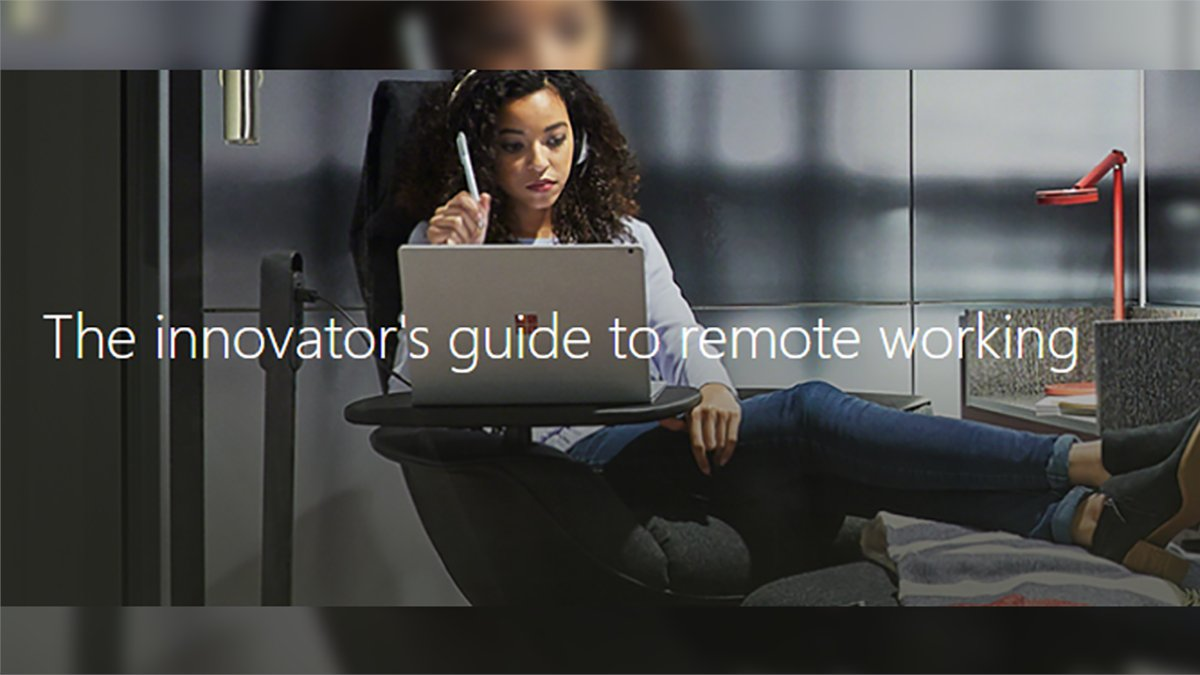 "An image of a woman working on a Surface device in a personal office pod with text in the foreground. The text reads: ""The innovator's guide to remote working""."