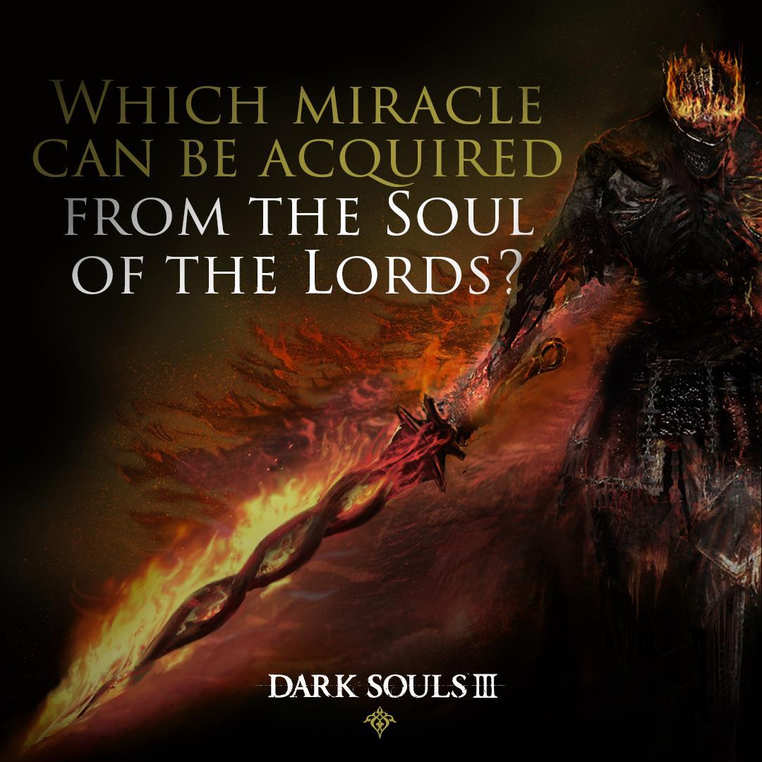 The soul itself holds a record of what once was and how it all began. Which miracle was used to cleft the darkness in the Age of Ancients?   #DarkSouls #DarkSouls3 https://t.co/3u2F3XFCcH
