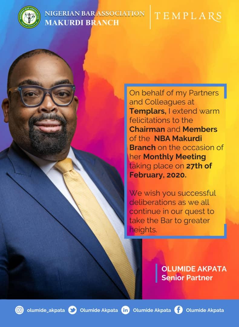 Mr. Olumide Akpata, @olumide_akpata, sends his tributes to the Chairman, leaders, and members of the NBA Makurdi Branch.#GetInvolved #OlumideAkpata #IAmWithOluAkpata #TeamOluAkpata #TransformationalLeadership