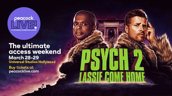 """Calling all Psychos! The cast is reuniting at Peacock Live! to discuss @peacockTV's """"Psych 2: Lassie Come Home."""" We can't wait! @DuleHill @JamesRoday @corbinbernsen @maggielawson @nelsonKirsten @Omundson @SteveFranks @3DogCircus"""