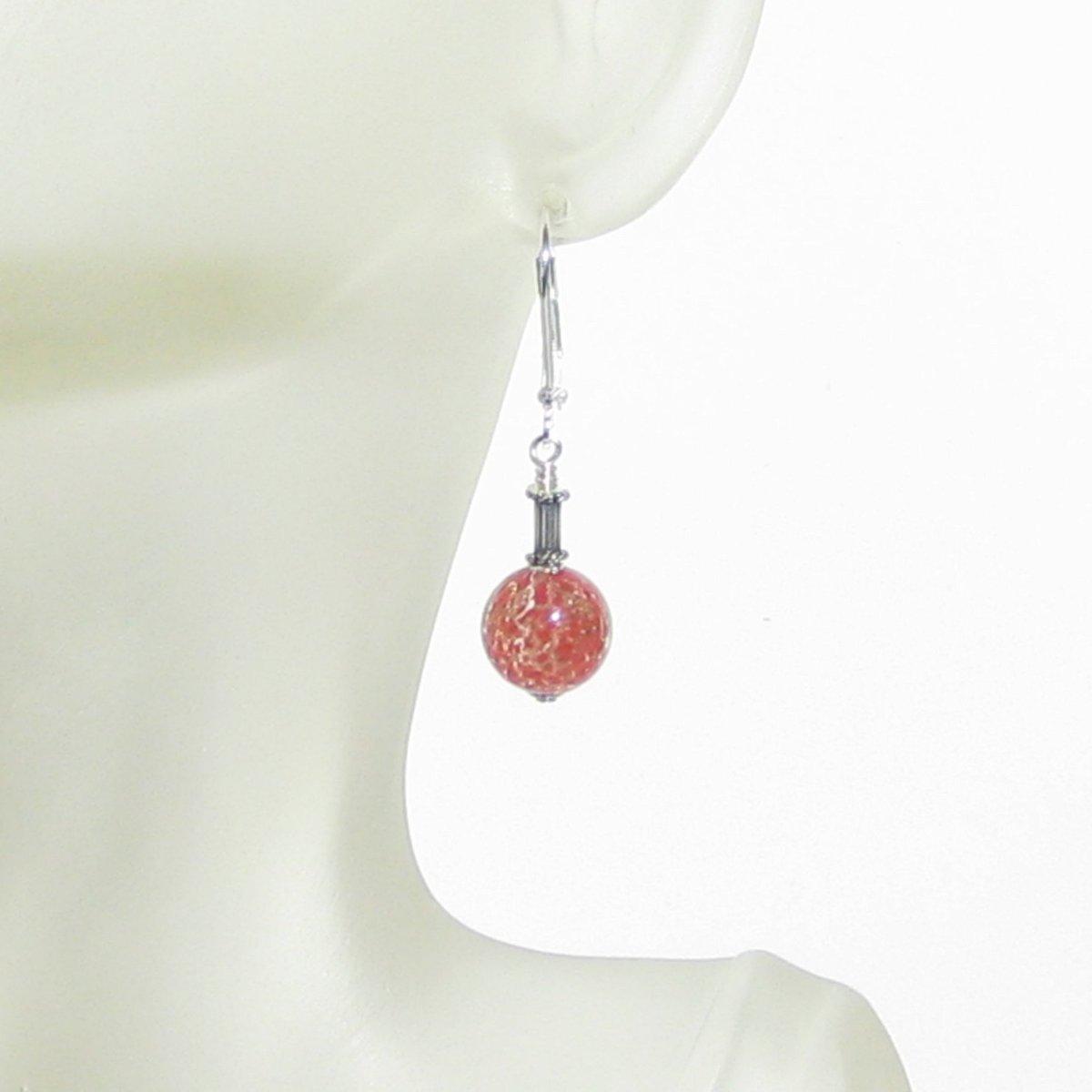 Murano Glass Red Ball Tube Dangle Silver Earrings  #handmade #fashion #earrings #etsymntt #jewelry #murano