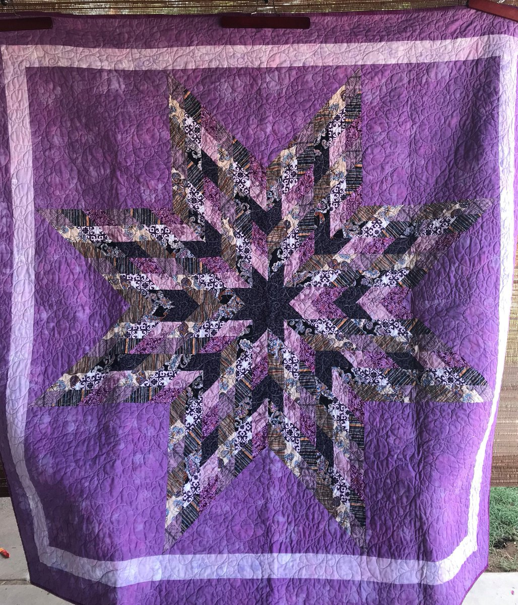 Excited to share in my #etsy shop: 65 x 65 Lone Star Quilt  #housewares #bedroom #bedding #purple #black #geometric #cotton #fabric #brown