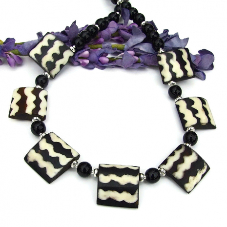 Unique #Boho Tribal-inspired African Black & White #Batik Bone #Necklace w/ Black Onyx  via @ShadowDogDesign #Handmade #BohoNecklace