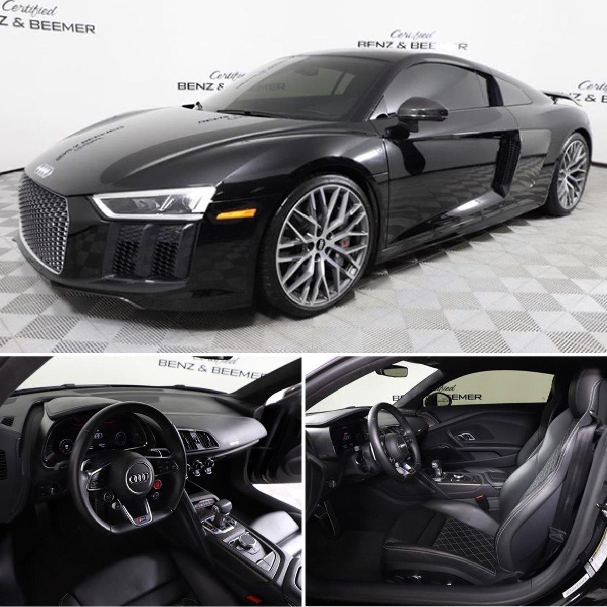 "FOR SALE - 2017 Audi R8 5.2 Plus, diamond stitched leather, Bang & Olufsen audio pkg, 20"" wheel pkg, carbon fiber interior & exterior pkgs. $136,000  • Call Certified Benz & Beemer (844) 568-1362 Stock 15671 or see http://www.Highline-Autos.com to shop additional Audis #audi #audir8 pic.twitter.com/h9Hmu5ntqZ"
